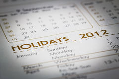 Focus to holiday word on a Calendar. Royalty Free Stock Photos