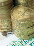 Focus on UK currency. Focus on currency: Stack of pound coins resting on UK banknotes with zoom effect Royalty Free Stock Photography