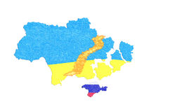 Focus Ukraine, map with flag Stock Images