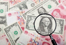 Focus on US currency Stock Photo