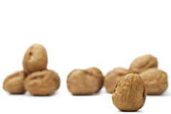 Focus on a walnut in front of others Stock Photography