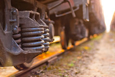 Focus on the wheels freight train Stock Photos
