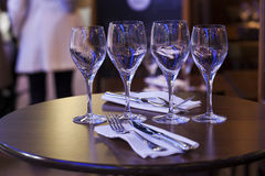 Focus on wine glasses at the bistro Royalty Free Stock Photography