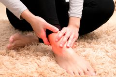 Focus on the women leg ankle injury/painful Royalty Free Stock Photography