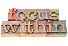 Focus within in wood type. Focus within word abstract - isolated text in letterpress wood type printing blocks stained by color inks Stock Photo