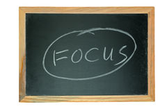 Focus word. Written on chalkboard isolated on white Royalty Free Stock Image