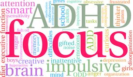 Focus Word Cloud. Focus ADHD word cloud on a white background vector illustration