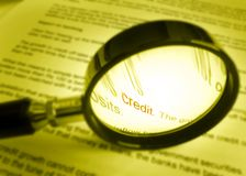 Focus on word credit on financial document Stock Photo