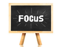 Focus word with emphasis line on blackboard with easel and refle Royalty Free Stock Photos
