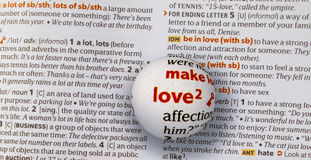 Focus on word love by magnifying a glass globe Royalty Free Stock Image