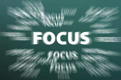 Focus word with concentration motion rays. On a green chalkboard background royalty free stock photos