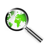 Focus world. An image for the concept of focus on world recycling. the graphic image shows a magnifying glass on top of a drawing of the world which as a royalty free illustration