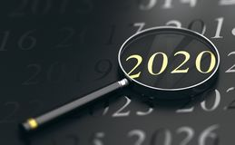 Focus on Year 2020, Two Thousand Twenty. 3D illustration of year 2020 written in golden letters and a magnifying glass over black background Stock Image