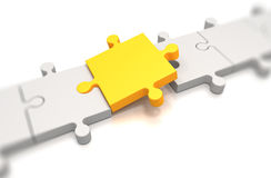 Focus on a yellow puzzle pieces Stock Image