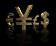 Focus on the Yen. Yen money symbol in focus with the other global currencies out of focus in the background Royalty Free Stock Photo