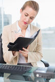 Focused attractive businesswoman writing on her agenda Royalty Free Stock Photos
