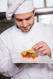 Focused baker putting flower on the pastry with fruit Stock Image