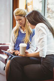 Focused business colleagues holding coffee cup and tablet Stock Photography