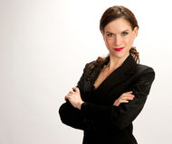 Focused Business Woman White Background Jacket Royalty Free Stock Photo