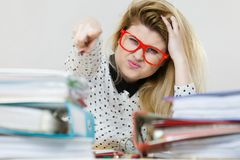 Energized business woman in office Royalty Free Stock Images