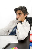 Focused Businessman. At his desk Stock Image