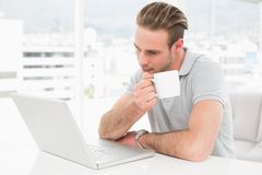 Focused businessman holding cup while using laptop Royalty Free Stock Image
