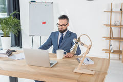 Businessman looking at laptop screen at workplace in office Stock Photography