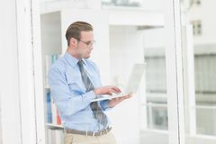 Focused businessman standing and using laptop. In his office Royalty Free Stock Photography