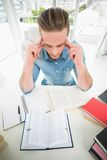 Focused businessman studying at his desk Stock Photos