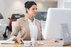 Focused businesswoman working on computer Royalty Free Stock Photo