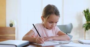 Focused cute little kid girl doing homework alone.
