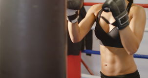 Focused and hard hitting female boxer training in boxing club stock footage