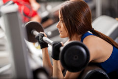 Focused on her workout Royalty Free Stock Photography