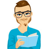 Focused Man Reading Book. Attractive brown haired man with glasses focused reading interesting book with hand on chin vector illustration