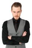 Focused man in vest Stock Photo