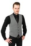 Focused man in vest Stock Photos
