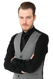 Focused man in vest Royalty Free Stock Photo