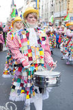 Focused musician in carnival parade Royalty Free Stock Photos