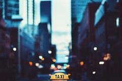Focused Photo of Taxi Signage Royalty Free Stock Images