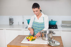 Focused pretty woman chopping vegetables. In bright kitchen Royalty Free Stock Images