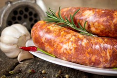 Focused raw sausage on the plate with rosemary and chili peppers. With garlic and meat grinder in the background Royalty Free Stock Photos