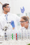 Focused scientists examining test tube and beaker Stock Images