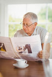 Focused senior man reading newspaper Royalty Free Stock Photo