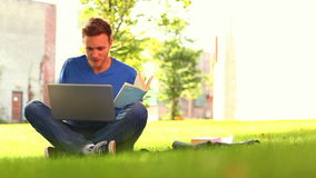 Focused smiling student studying outside Stock Photo