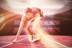 Focused sportsman at starting line Royalty Free Stock Photography