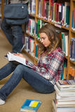 Focused student reading book on library floor Stock Photography