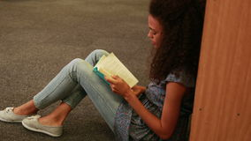 Focused student reading a book lying  on the floor. In the library stock footage