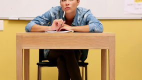 Focused student studying in classroom Stock Photos