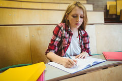 Focused student taking notes during class Royalty Free Stock Photography