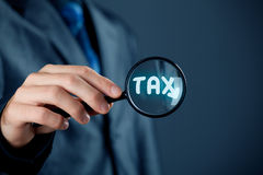 Focused on tax. Financial officer focused on tax. Tax optimization concept Stock Image